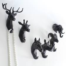 europe style hanger decor wall home kitchen bathroom animal head crafts robe hooks wall for hanging coat hat bag black wall hanger decorative wall hooks