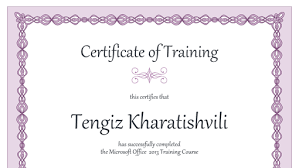 Microsoft Powerpoint Certificate Template Certificate Of Training Purple Chain Design