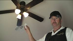 ceiling fan with remote control. testing the ceiling fan remote control with