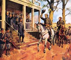 general lee and his horse traveller surrenders to general grant by mcconnell painting