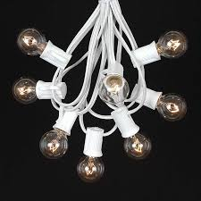 25 g30 globe light string set with clear bulbs on white wire