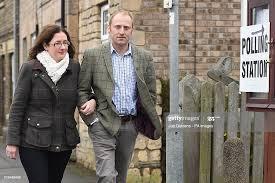 Conservative candidate Dr Caroline Johnson and her husband Nik arrive...  News Photo - Getty Images