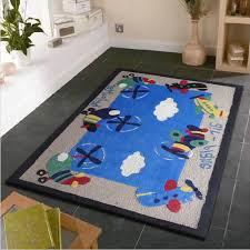 chic kids bedroom area rug with air plane designs perfect for indoors ideal any setting stain resistant poly acrylic material small hand tufted rainbow