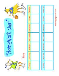 Free Homework Chart Printable Weekly Homework Charts Free Image