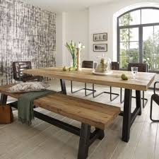 distressed wood table bench metal legs industrial modern design more