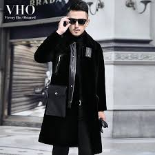 2019 vho natural real fur lamb wool coat for men long fashion shearling motorcycle biker genuine leather jacket dust coat warm thick from bairi