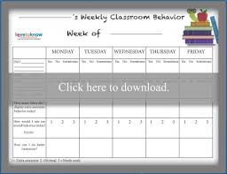 Weekly Behavior Chart For Home Behavior Middle School Online Charts Collection