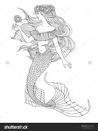 Mermaid Holding A Flower Illustration For