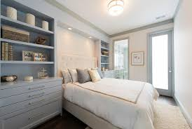 gray and ivory bedroom with built in nightstands