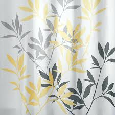 gallery pictures for leaves polyester yellow and gray leaves patterned shower curtain