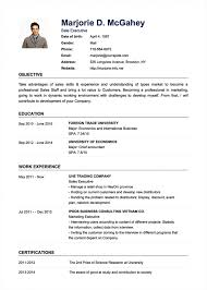 Simple Cv Examples Sample For Job Application Format Doc