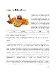 "essay on junk food and its effects short essay on ""junk foods"""
