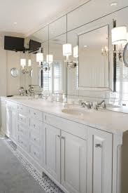 over bathroom cabinet lighting. Modern Bathroom Wall Sconces With Large Frameless Mirror Above Double Sink Vanity Under Recessed Lights Over Cabinet Lighting O