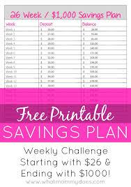 Weekly Saving Plan Chart 26 Week No Brainer 1 000 Savings Plan Start With 26 End