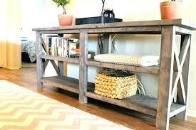 diy sofa table plans how to build a sofa table plans impressive rustic wood with shelves