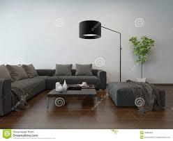 Woonkamer Binnenlands W Grijze Laag En Staande Lamp Stock