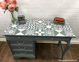 desk with stencil painted desk with stencil stenciled painted furniture painted furniture ideas