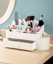 White Wooden Makeup Cosmetic Beauty Organizer with Storage Drawer & 14  Compartments Bathroom Organizer By
