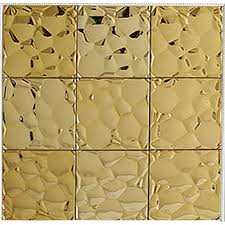 gold stainless steel tile mosaic pebble patterns metal backsplash square tile brick bathroom mirror frame