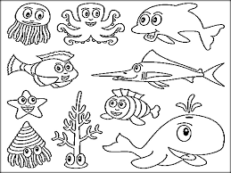 Small Picture Underwater Ocean Animals Coloring Pages For Preschool Color Zini