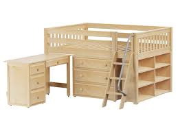 full low loft storage bed with angled ladder full size low loft beds