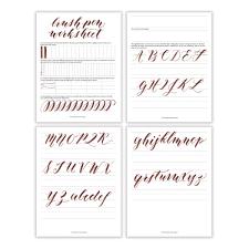 Free Basic Brush Pen Calligraphy Worksheet | Brush pen calligraphy ...
