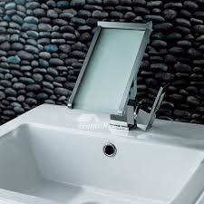 pictures show creative waterfall bathroom sink faucet led
