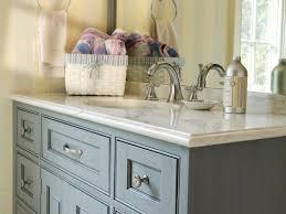 blue cottage vanity and basket