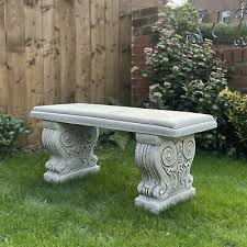 stone cast curved garden bench seat
