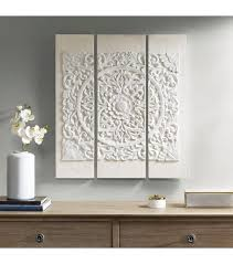 Shop the top 25 most popular 1 at the best prices! White Wood Mandala On White Canvas 3 Piece Wall Art