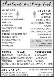 Packing Check List What To Wear In Thailand Printable Checklist