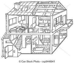 attic clipart black and white. Interesting Black Dwelling House  Csp5448941 To Attic Clipart Black And White