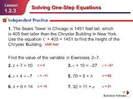 18 solving one step equations lesson 1 2 3