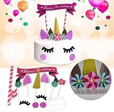 Jual Unicorn Cake Topper With Eyelashes Cupcake Toppers Wrappers