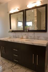 bathroom recessed lighting ideas espresso. Modern Bathroom With Espresso Stained Double Vanity Marble Countertop Sinks Wood Framed Mirrors And Recessed Lighting Ideas C