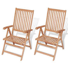 Reclining <b>Garden Chairs 2 pcs</b> Solid Teak Wood – iDaStock