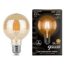Светодиодная <b>лампа Gauss</b> LED <b>Filament</b> G95 E27 6W Golden ...