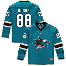 Sharks Jose San Youth Jersey Teal Burns Fanatics Replica Brent Player Branded