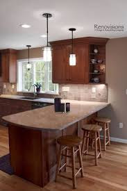 Amazing Kitchen Nice Light Cherry Cabinets Peninsulashaped Pict Of