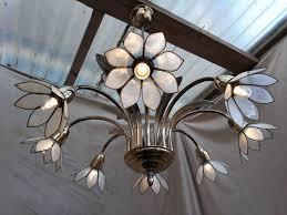 italian chandelier capiz shell lotus flowers 8 armed 50s