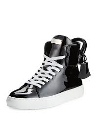 buscemi women s patent leather high top sneaker black