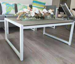 white aluminum and faux wood modern outdoor coffee table large white wood coffee tables