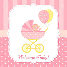 baby girl invite baby girl invite card vector baby shower banner pink design
