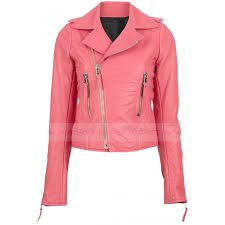 pink leather biker jacket for womens zoom pink
