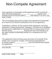 Business Partner Non Compete Agreement Contract Contracts In