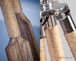 Landelijke Staande Houten Lamp 3 Poot Van Hout Touw En Metaal Vl