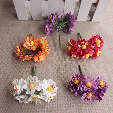 Paper Flower Arrangements 3cm Mini Paper Roses Tissue Paper Flowers Wire Stem Flower Bouquets