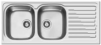 double kitchen sink stainless steel with drainboard sky 500