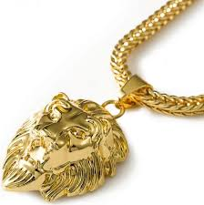 0 mens 18k gold plated lion head franco chain hiphop king lion pendant necklace