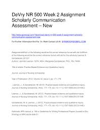 Devry Nr 500 Week 2 Assignment Scholarly Communication Assessment